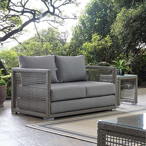 Modway EEI-2924-GRY-GRY Aura Outdoor Patio Wicker Rattan Loveseat Gray - Modway Outdoor Furniture: Amazon.com