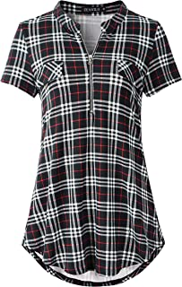 ZENNILO Women's Zip V Neck Short Sleeve Plaid Shirt Casual Tunic