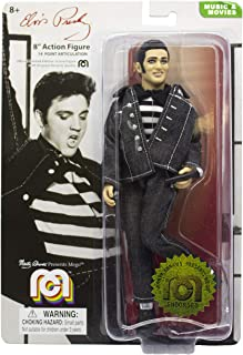 """Mego Action Figures, 8"""" Elvis Presley in Jailhouse Rock Black Denim outift with Black and White Striped Shirt (Limited Edition Collector's Item)"""