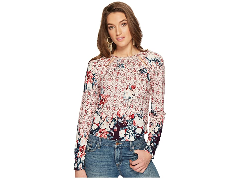 Lucky Brand Braided Knit Top (Purple Multi) Women's Long Sleeve Pullover