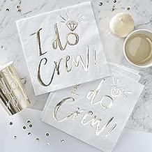 Ginger Ray ID-409 White & Gold I Do Crew Paper Napkins-16 Pack, White/Gold