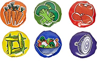Speech Bin Veggie Toss Round Multilingual Beanbags - 3 inches - Set of Six