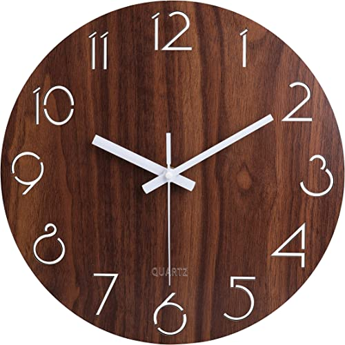 """12"""" Vintage Arabic Numeral Design Rustic Country Tuscan Style Wooden Decorative Round Wall Clock"""
