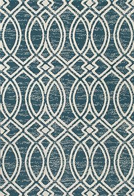 """Art Carpet Highline Collection Ogee Trellis Woven Area Rug, 6'7"""" x 9'2"""", Aqua/Linen"""