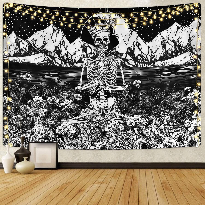 Max 74% OFF Skull Tapestry Meditation Moun Skeleton Max 88% OFF Flower