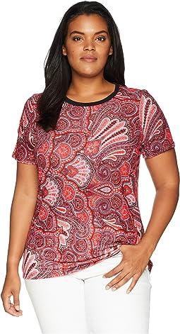 Plus Size Linen-Blend-Jersey T-Shirt
