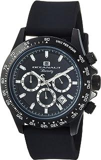 Oceanaut Men's Biarritz Stainless Steel Quartz Watch with Rubber Strap, Black, 22.8 (Model: OC6114R)
