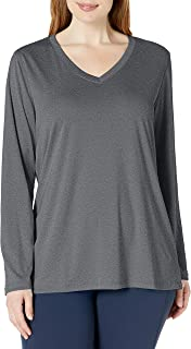 Women's Plus Size Active Cooldri Long Sleeve V-Neck Tee
