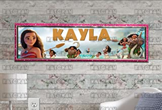 KATONAH Customized Name Painting Moana Movie Poster with Your Name On It Personalized Banner with Hard Frame