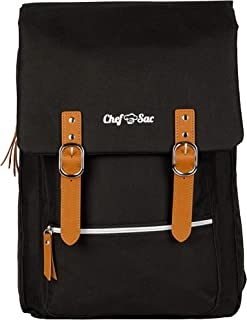 Chef Knife Bag Vintage Backpack   30+ Pockets for Knives & Kitchen Utensils Tools   Large Pockets for Tablets & Notebooks   Great Gift for Executive Chefs & Culinary Students (Black)