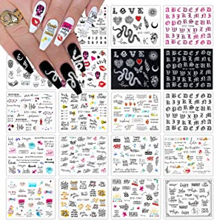 Kalolary 20pcs Snake Nail Art Stickers Water Transfer Nail Decals, Flower Letter Snake Rode Lippen Nail Design Stickers Na...