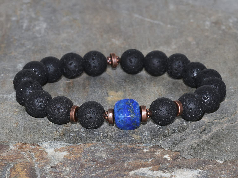 Max 84% OFF security 10mm Volcanic Lava Stone Lapis Roc Lazuli Handmade Bracelet