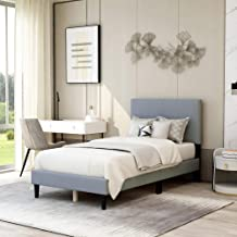 Upholstered Panel Bed Frame Twin Size with Headboard,Box Spring Needed/Mattress Foundation/Wood Slat Support,Light Grey