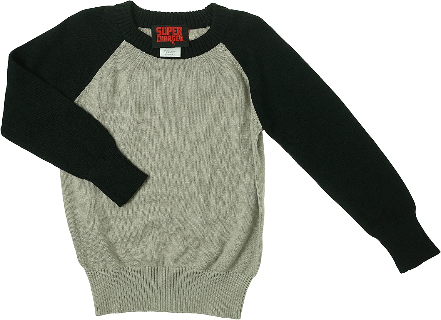 Evy California Super Charged Boys Two-Tone Crew Neck Pullover Sweater (Small/2T-3T, Black/Flint Gray)