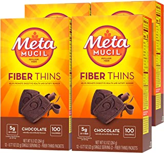 Metamucil Fiber Thins, Psyllium Husk Fiber Supplement, Digestive Health Support and Satisfy Hunger, Chocolate Flavored, 12...