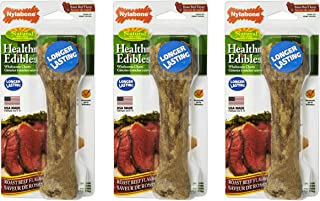 Nylabone 3 Pack of Healthy Edibles Chew Treats, Souper, Roast Beef Bones for Dogs Over 50 Pounds, Made in the USA