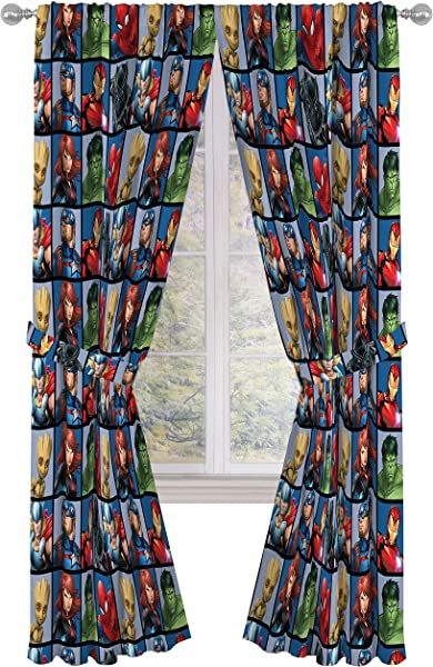 Jay Franco Marvel Avengers Team 84 Inch Drapes 4 Piece Set Beautiful Room D Cor Easy Set Up Window Curtains Include 2 Panels 2 Tiebacks Official Marvel Product