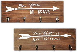 Spiretro Set of 2 Wall Mount Plaque with 4 Hooks and Arrow Sign Inspirational Words, Coat Hat Bag Rack, Leash Key Holder, ...