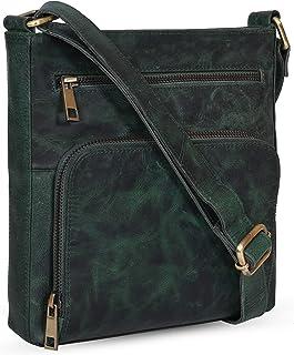 Amazon Brand - Eono Umhängetaschen für Damen - Kleine Vintage verstellbare Umhängetasche aus echtem Leder (Green Crazy Horse)