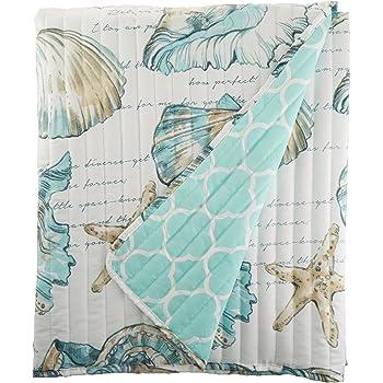 Starfish Pink Green Blue Coastal Tropical Throw Blanket NEW Beach 50x70 Ocean