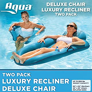 Aqua Leisure 2 Pack, Luxury Pool Lounger Recliner & Deluxe Pool Chair, Waves Fashion