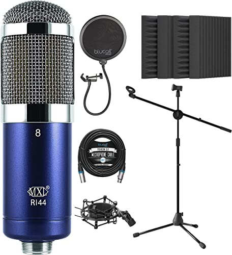 """lowest MXL R144 Ribbon Microphone for Vocals, Brass, Horns, Acoustic and Electric discount Guitars Bundle with Blucoil 20-FT Balanced XLR Cable, Pop Filter Windscreen, Adjustable Mic Stand, and 4x 2021 12"""" Acoustic Wedges outlet online sale"""