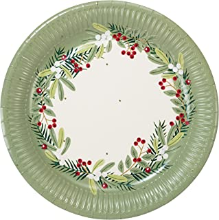 Talking Tables Christmas Xmas Party Decorations Paper Plates Botanical Berry Eco-Friendly Biodegradable, 8 Pack, Red Green...