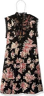 فستان جميل بناتي مزين بالدانتيل بصدرية واسعة مزين بالزهور