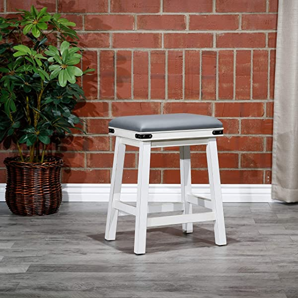 DTY Indoor Living Cortez Bonded Leather Stool White Finish 24 Counter Height Gray Leather Seat