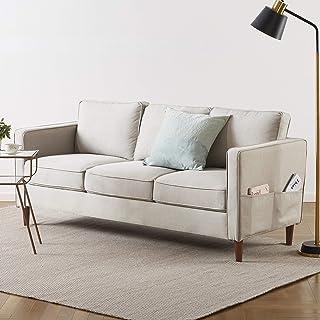 Mellow HANA Modern Loveseat / Sofa/Couch with Armrest Pockets, Sand Grey