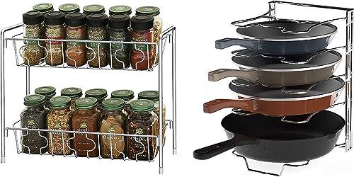 discount SimpleHouseware 2-Tier Kitchen Counter Organizer popular Spice Rack + lowest 5 Adjustable Compartments Pan Organizer, Chrome outlet online sale