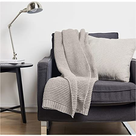 Amazon Basics Knitted Chenille Throw Blanket - 66 x 90 Inches, Light Grey