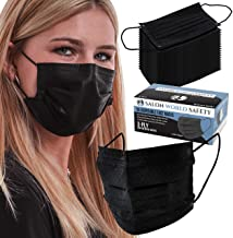 TCP Global Salon World Safety - Black Safety Face Masks Disposable 3-Ply PPE