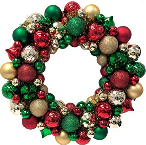 "Country Silk Christmas Ornament Wreath, Holiday Decorations, Plastic, 19"" Dia."