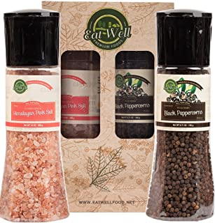 Whole Tellicherry Black Peppercorns With Grinder (6.5 oz /185 g ) - Pink Himalayan Salt Grinder ( 13.8 oz /390 g) | Tellic...