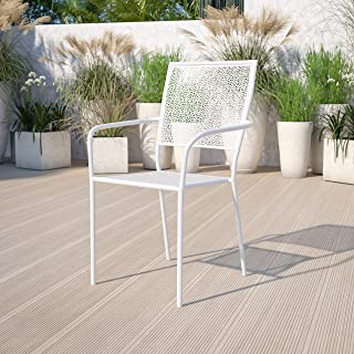 Flash Furniture Commercial Grade White Indoor-Outdoor Steel Patio Arm Chair with Square Back