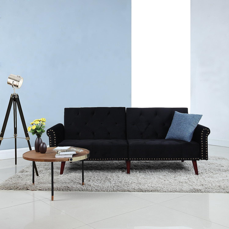 Divano Roma Furniture Modern Tufted Velvet Splitback Recliner Sleeper Futon Sofa with Nailhead Trim (Black), Small