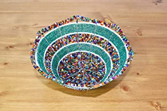 Small African Beaded Wire Bowl - Maasai Jewelry Bowl - Handmade in Kenya - 6 Inches