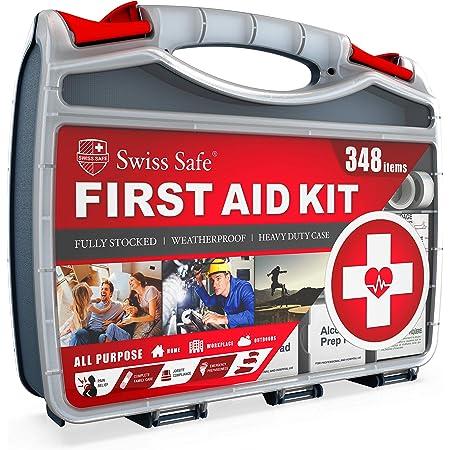 Swiss Safe 2-in-1 Hardcase First Aid Kit (348 Piece) + Bonus Mini Kit (32 Piece), Survival Preparedness for 50 People