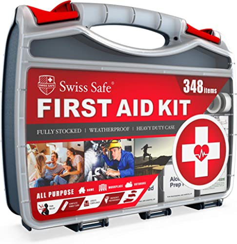 2-in-1 First Aid Kit (348-Piece) 'Double-Sided Hardcase' + Bonus 32-Piece Mini Kit: Perfect for Home & Workplace Safe...
