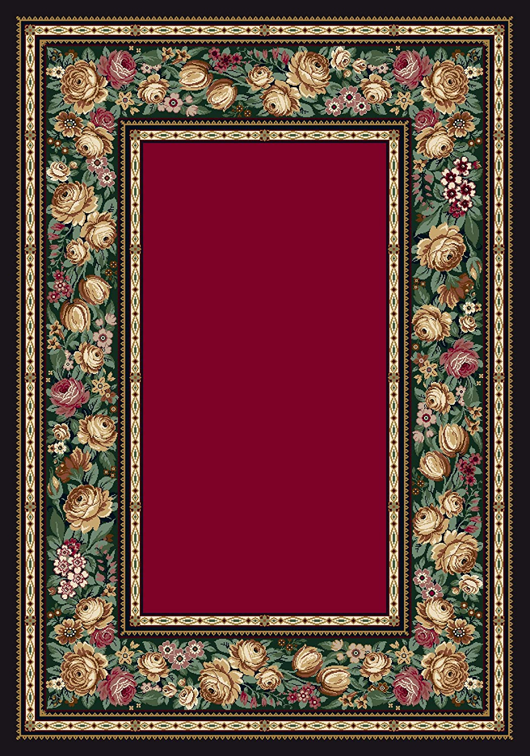 Milliken English Floral Rectangle Area Ruby Spasm price Rug x 5'4