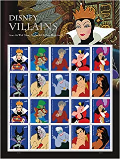 Walt Disney Villains Sheet of 20 Forever First Class Postage Stamps By USPS