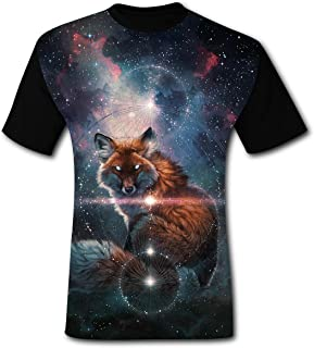 TianLX Men's The Space Fox O-neck Print Tee Shirt Cool Short Sleeve
