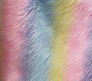FabricLA Pastel Stripe Rainbow Shaggy Fur Fabric by The Yard