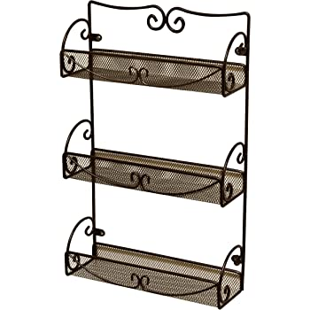 DecoBros 3 Tier Wall Mounted Spice Rack, Bronze
