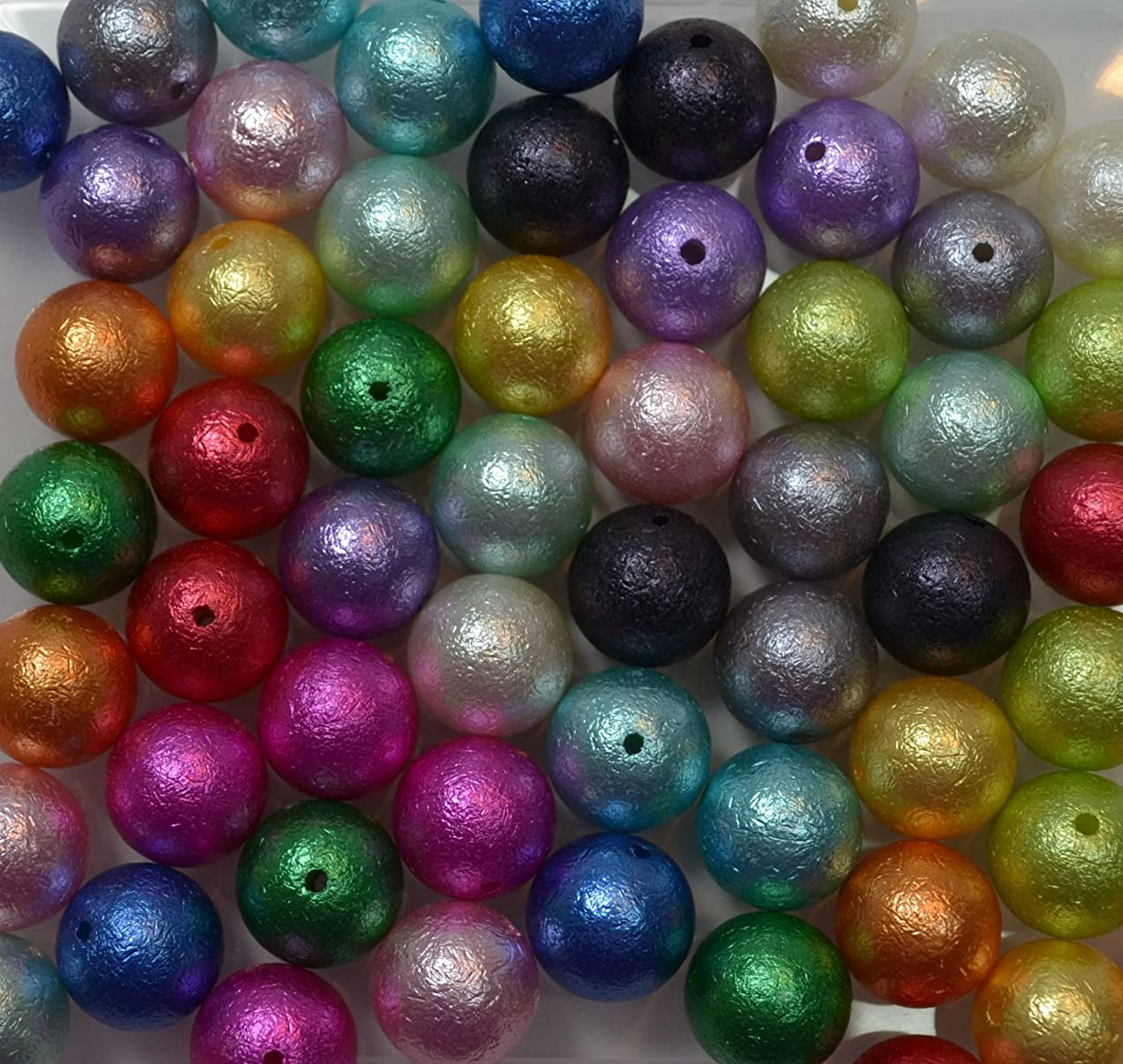 20mm Bulk Mix of 56 Crinkle Wrinkle Faux Pearl Chunky Bubblegum Beads 14 Colors Acrylic Gumball Beads Lot