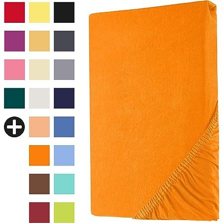 Heim24h® Drap-Housse revêtement Matelas Orange 140x200-160x200 cm d'une Hauteur de 18 à 30 cm 100% Coton Qualité Supérieur Extensible Respirant et Doux