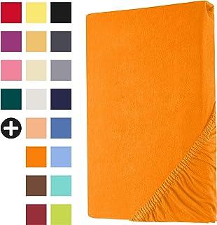Heim24h® Drap-Housse revêtement Matelas Orange 140x200-160x200 cm d'une Hauteur de 18 à 30 cm 100% Coton Qualité Supérieur...