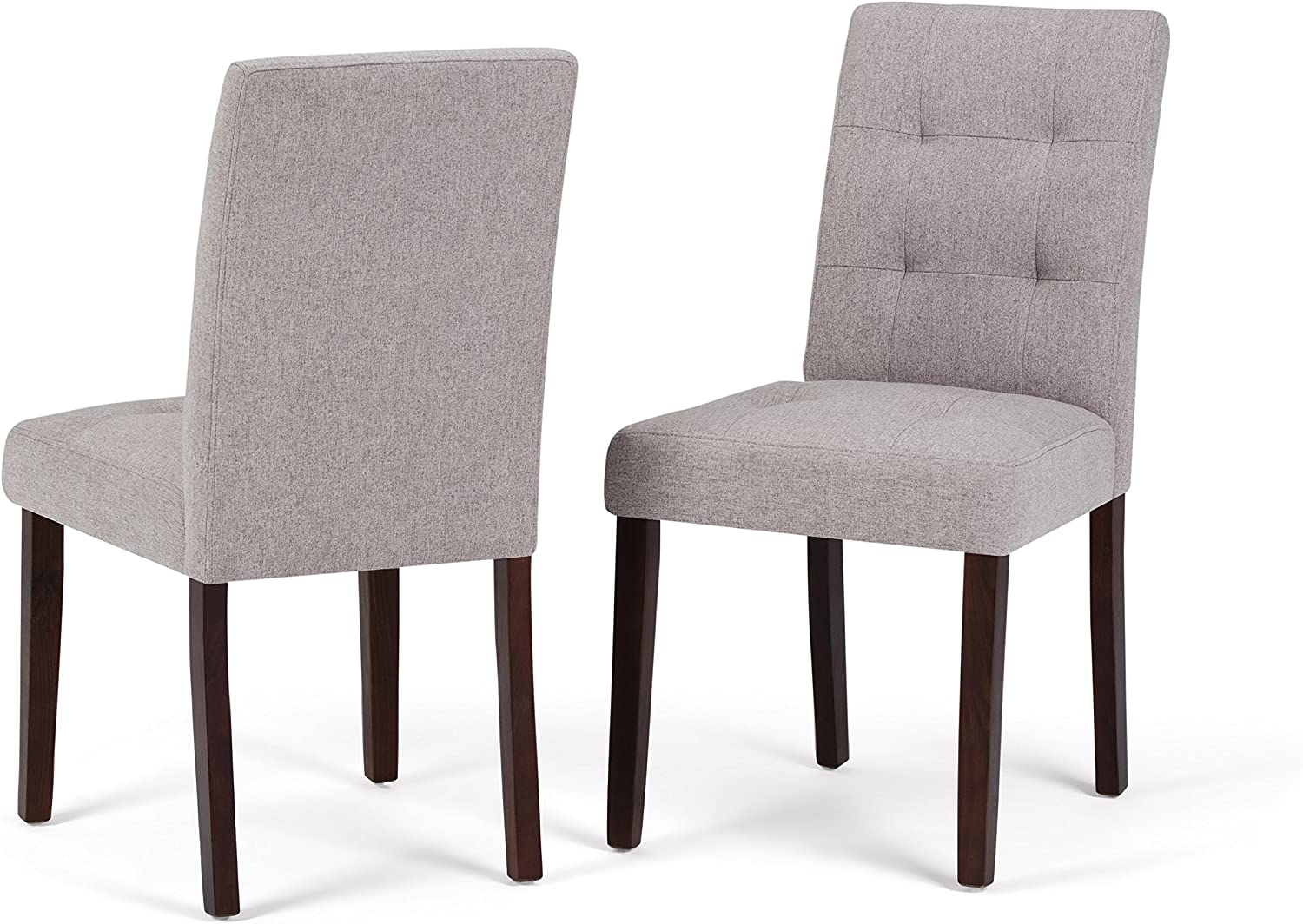 Simpli Home AXCDCHR-004-CLG Andover Contemporary Parson Dining Chair (Set of 2) in Cloud Grey Linen Look Fabric