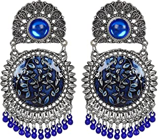 Frolics India Traditional Metal Oxidised Silver Earrings for Women, Blue